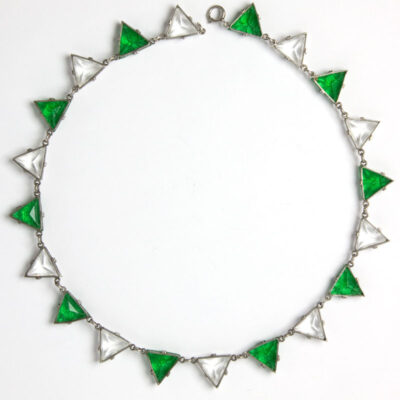 Back of emerald & crystal triangle necklace