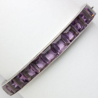 Amethyst bangle bracelet in sterling