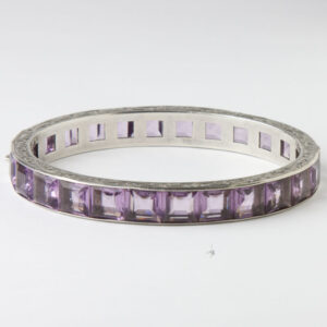 Front of wide amethyst bangle