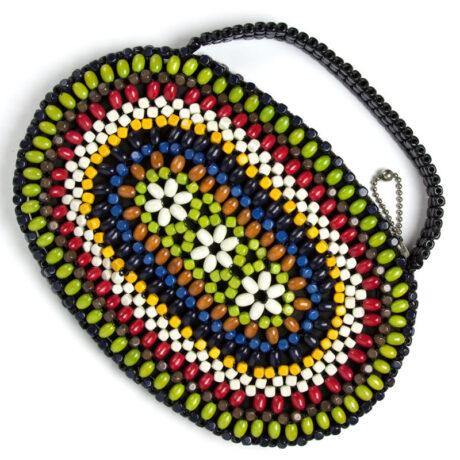 Colorful wood bead purse by Schonanek