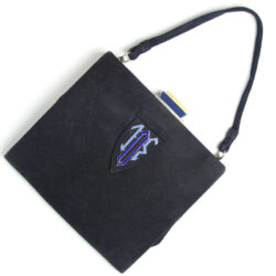 Art Deco handbag in navy suede with enamel