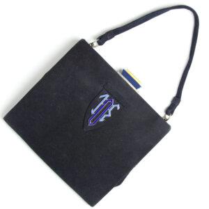 Art Deco handbag in navy suede with enamel