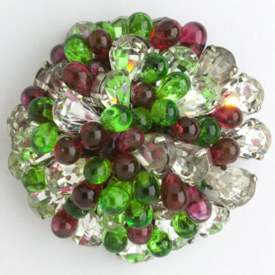 Glass beaded brooch with diamante