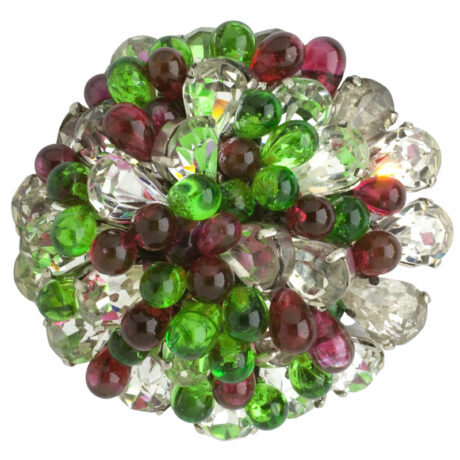 Glass beaded brooch with diamantes