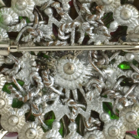 Close-up view of brooch construction