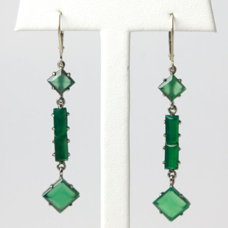 Chrysoprase and sterling drop earrings