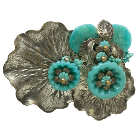 Turquoise brooch with flowers & silver nasturtium leaves