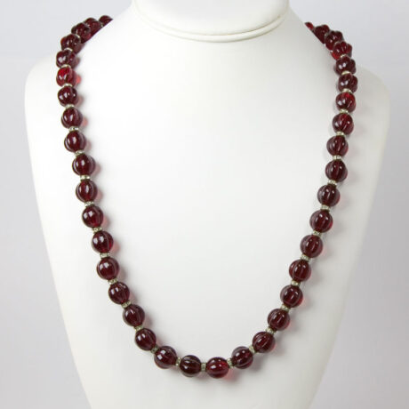 Vintage red glass bead necklace with rondelles