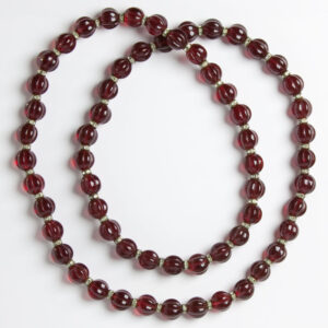 Deep-red melon-bead long necklace