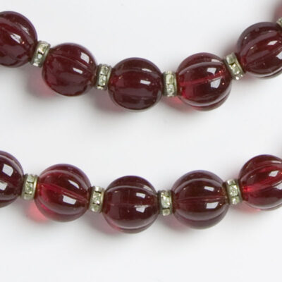 Close-up view of beads and rondelles
