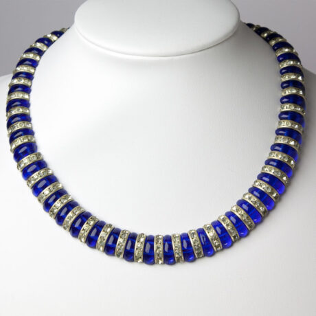 Blue glass necklace with rondelles