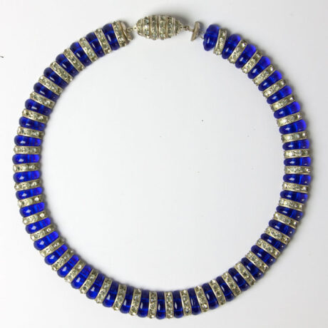 Front of blue glass & rondelle necklace