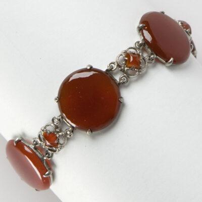 Vintage carnelian bracelet in sterling silver