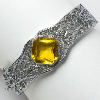 Silver filigree bangle with citrine center stone