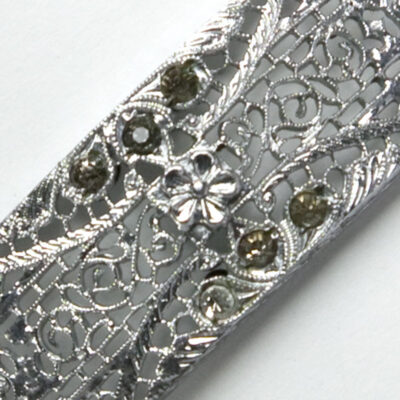 Close-up view of filigree with diamante