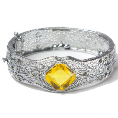 Filigree & citrine 1920s hinged bracelet