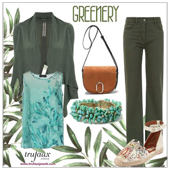 Turquoise bracelet with khaki green outfit