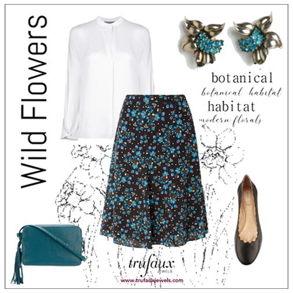 Floral skirt with aqua & sterling Pennino earrings