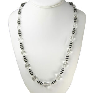 Crystal bead necklace with crystal & onyx disks