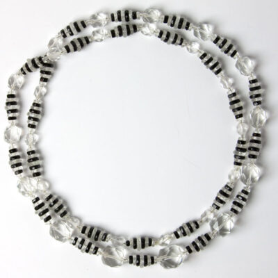 Crystal bead & onyx necklace doubled