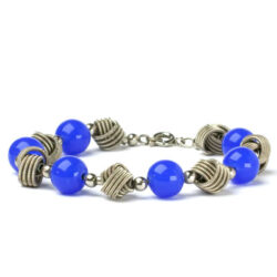 Full view of blue bead & chrome bracelet