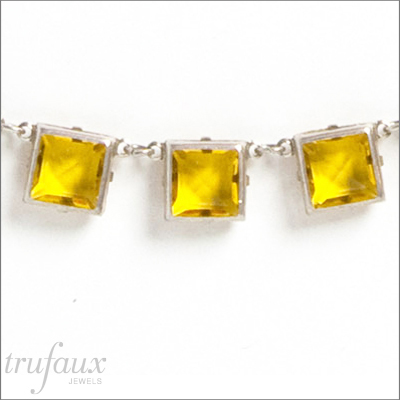 Yellow chicklet necklace back