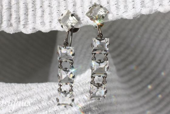 Vintage crystal jewelry -- chicklet earrings